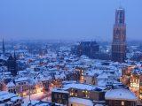 Aluminium Dibond 125×85. 'Besneeuwde binnenstad van Utrecht' van Donker Utrecht