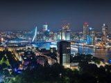Aluminium Dibond 125×80. 'Lichtshow / Rotterdam / Erasmusbrug' van Rob de Voogd / zzapback